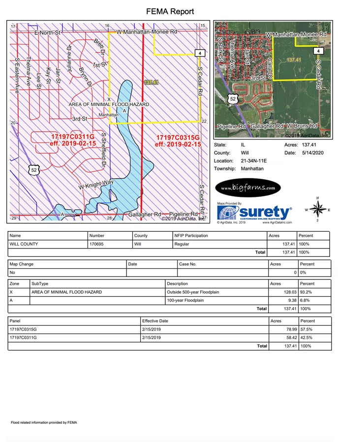 FEMA Report 140 Acre Manhattan Farm Located in Manhattan Township, Will County, IL