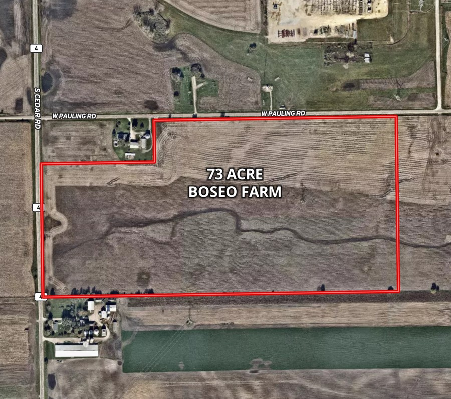 Aerial Map 73 Acre Boseo Farm Manhattan Township, Will County
