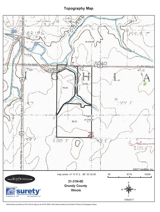 Topographical Map of Parcel 2, 80 Acre Highland Township
