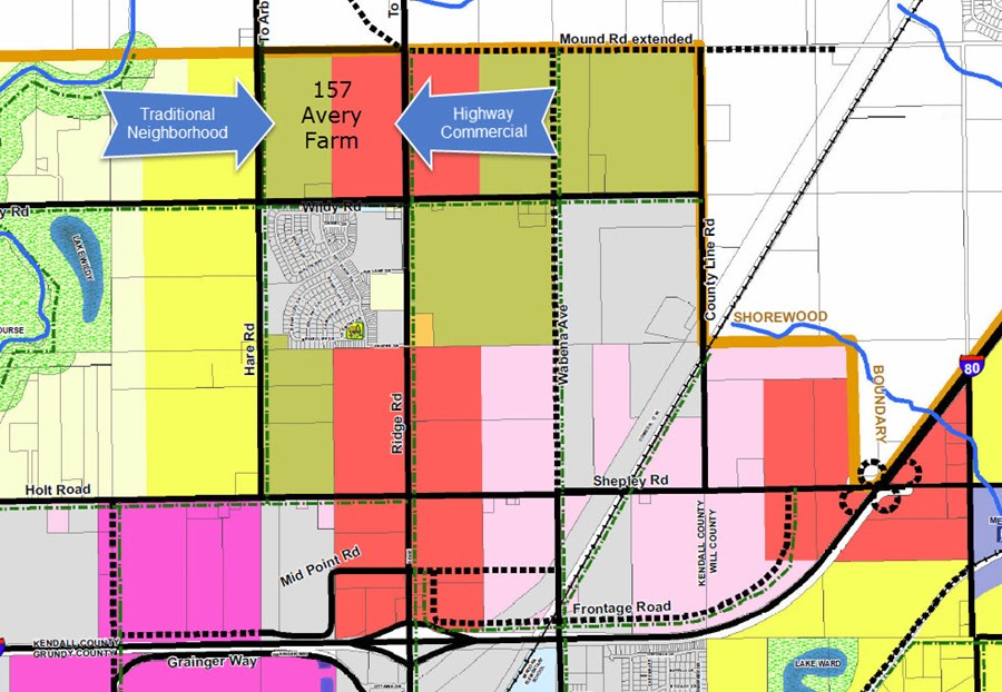 Minooka Comprehensive Plan for 157 acre Avery farm on Ridge road