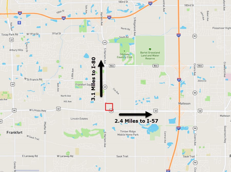 Location Map of 35 Acres at the corner of Rt. 30 and Harlem Ave.