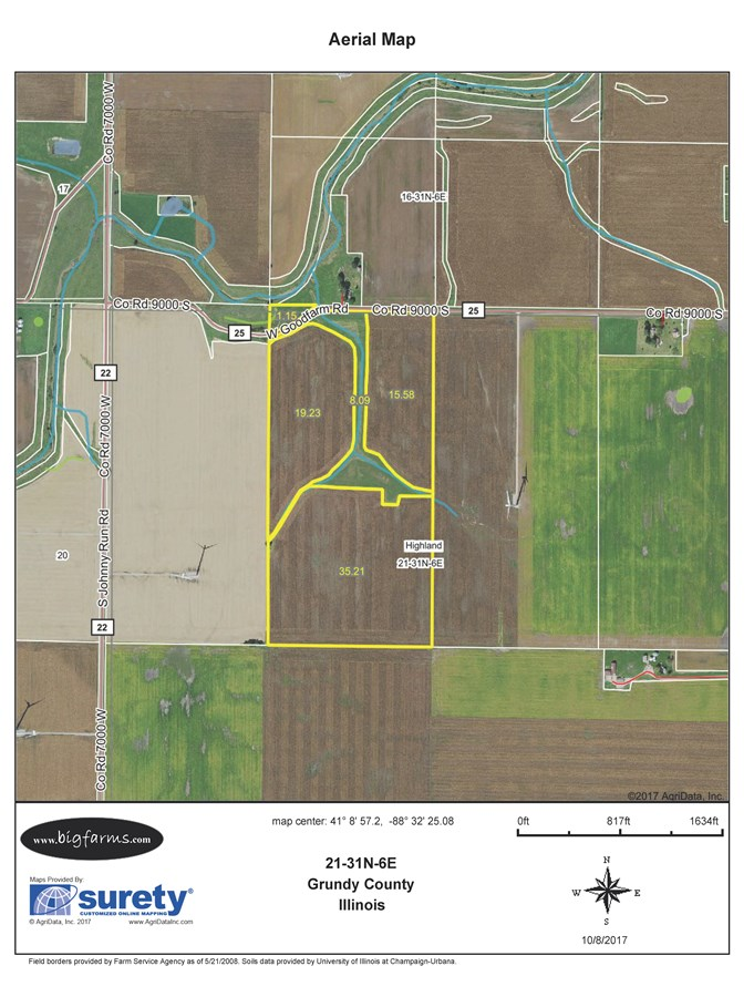 FSA Map of Parcel 2, 80 Acres Highland Township, Grundy County