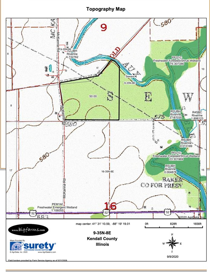 Topography Map 50 Acre Seward Township Farm Kendall County