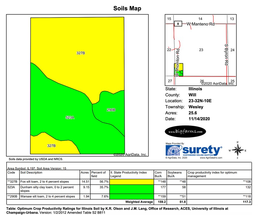 Soil Map Parcel #4 Butterfield Farm Custer Township, Will County