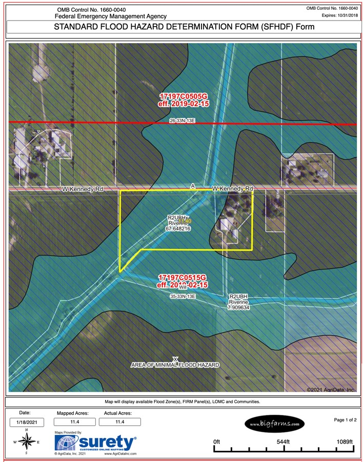 SFHD Form 11.3 Acre Peotone House and Buildings Will Township, Will County, IL