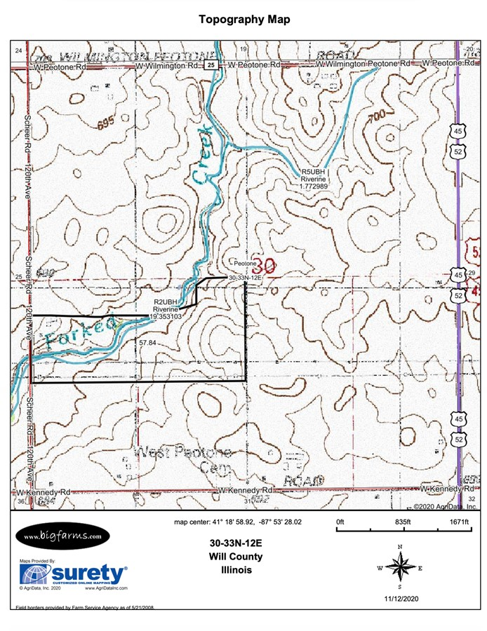 Topography Map 60 Acre Peotone Kahn Farm Peotone Township, Will County