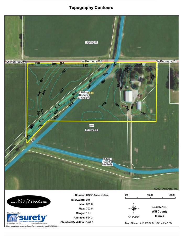 Contours Map 11.3 Acre Peotone House and Buildings Will Township, Will County, IL