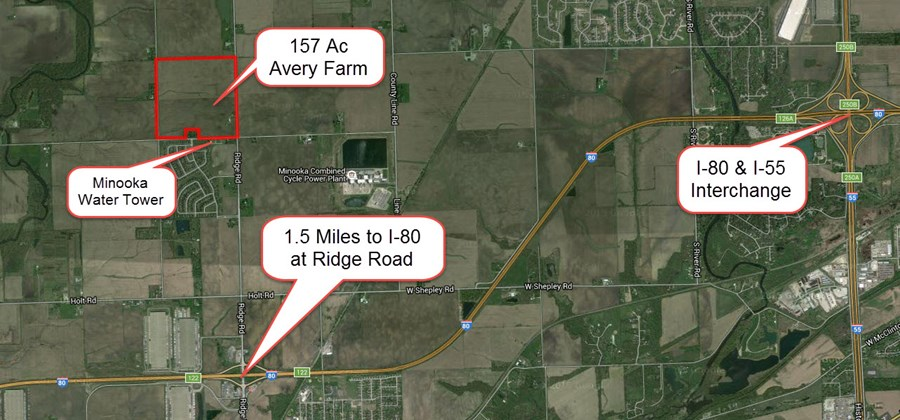 Aerial map of the 157 ac Ridge road farm, MInooka, IL