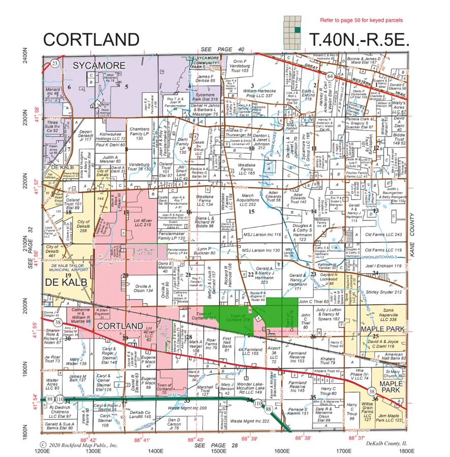 Plat Map 337.5 Acre Cortland Farms Parcels 3 and 4, Cortland Township, Dekalb County