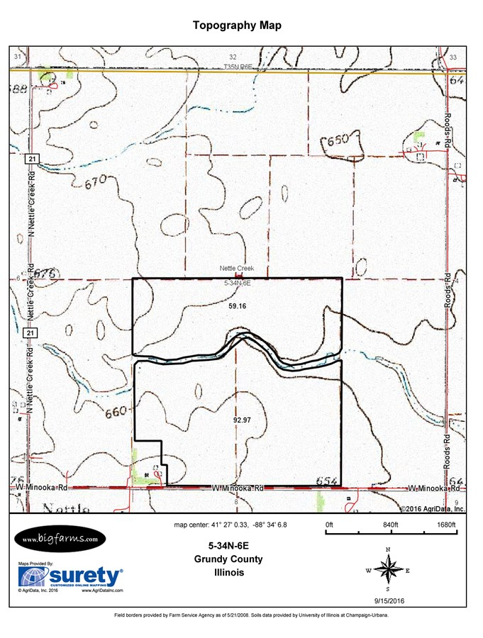 Topographical Map for 155 Acres Nettle Creek Township, Grundy County