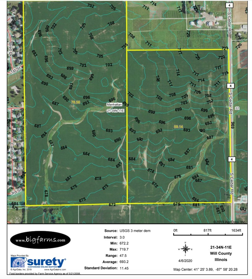 Contours Map 140 Acre Manhattan Farm Located in Manhattan Township, Will County, IL
