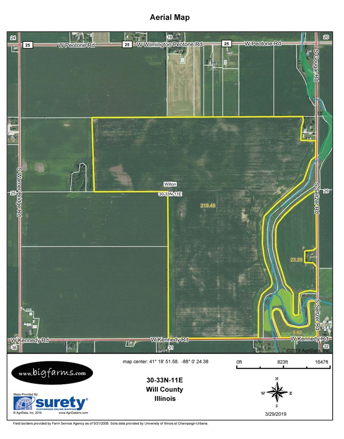 FSA Map for 277 Acres in Wilton Township, Will County IL.