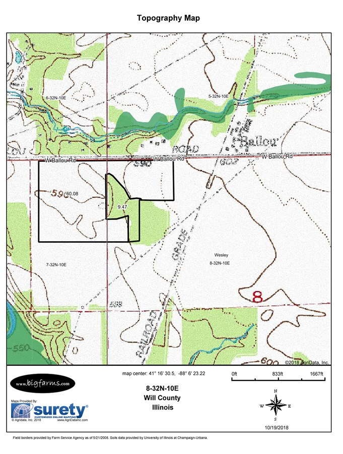 Topographical  Map of 70 acres (Seven 10 Ac Lots)